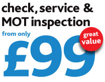 Check, service and MOT inspection only £99