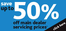 Up to 50% off main dealer servicing Special offer